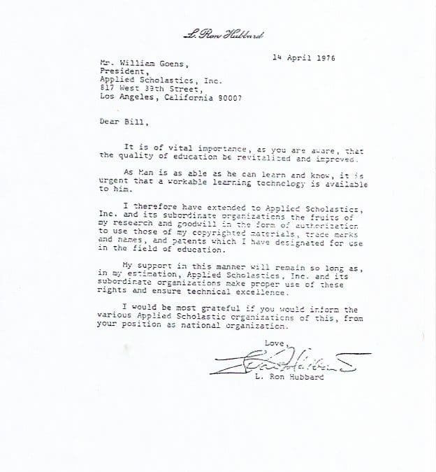 Lettre de Ron Hubbard à Applied Scholastics